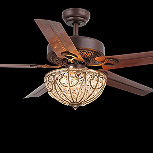 Andersonlight Luxurious 48 Inch Ceiling Fan Crystal LED Light Lampshade Kit 5 Metal Blades Downrod Remote Control Speed Reverse Pure Copper Motor New Bronze for Indoor/Living (Antique Copper Light Kits Fan)