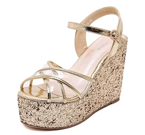 Party High With Hollow Heels Gold Personality Ladies Gift Banquet Wedding Silver Sandals Gold Fashion Shiny Straps Slope Girl's HETAO 8Eqw1PE