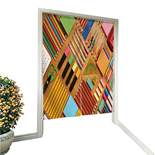 (Jiahonghome Doorway Curtain NorenOffice and School Supplies Arranged on Wooden Table Knoll for Home Decoration 33.5