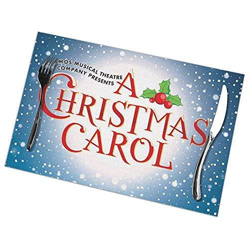 A-Christmas-Carol Manteles individuales para mesa de comedor Juego de 6 alfombrillas de cocina antideslizantes,lavables y resistentes al c