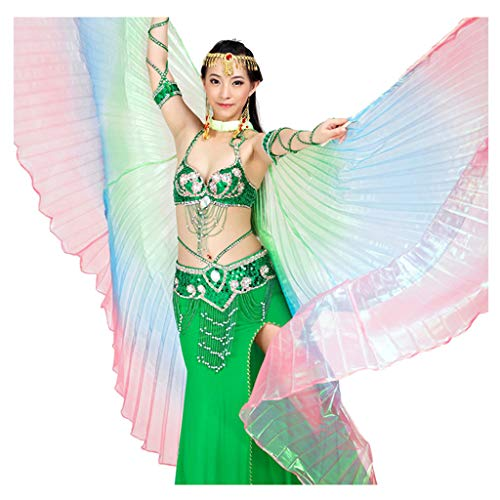 Pilot-trade Women's Egyptian Egypt New Belly Dance Costume Colorful Isis Wings (One Size, 5#green-blue-red)]()