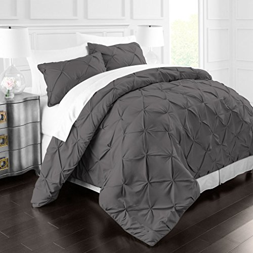 Park Hotel Collection Luxury Soft Brushed Microfiber Pinch Pleat Duvet Cover Set - Hypoallergenic Pintuck Style Duvet Cover w/Matching Shams - King/Cal King - Gray