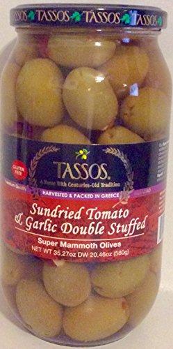 - Tassos Sundried Tomato & Garlic Double Stuffed Super Mammoth Olives 35.27.oz