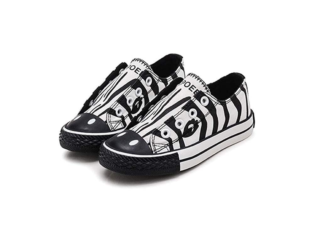 Toddler Animal Printing Canvas Shoes Flat Laceless Slip-on Sneakers Walking Tennis Shoes School Shoes