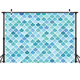 LYWYGG 7x5ft Photography Backdrop Party Princess Blue Green Mermaid Scales Birthday Party Banner Photo Studio Booth Background Newborn Baby Shower Photocall CP-47