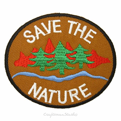 Save The Nature Round Oval Naturalist Forest Ranger Badge - Easy & Fast Iron on, Sew on Embroidered Patch - Great for Applique, Gift, Collectible, Craft, Kid Cloth Decoration & -