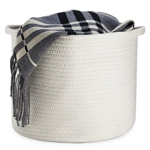 Smart Additions Decorative Fold-able Storage Basket - Large Cotton Rope Collapsible Basket with Handles 15