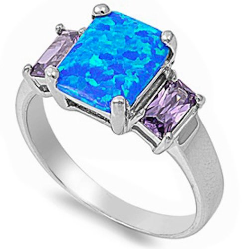 Oxford Diamond Co Blue Australian Opal Faceted Simulated Amethyst .925 Sterling Silver Ring Sizes 5-10