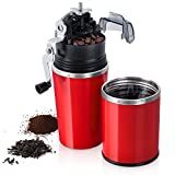 ROMAUNT Grind Brew Portable Travel Coffee Maker Grinder Brewer CeramicSingleServeBurrManual Coffee Mug AllinOne Set withFilterGiftSetRedColor