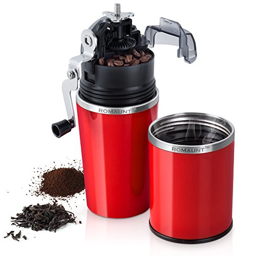 Travel Coffee Grinder Set ROMAUNT All In One Portable Manual Grind Brew Coffee Maker Single Serve 2X Stainless Steel Mug Ceramic Burr Brewer Gift (Red) Review