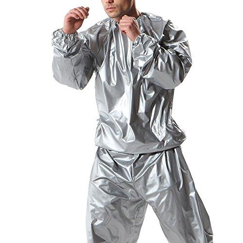 2 Piece Unisex Neoprene Sauna Workout Burning Fat Weight Loss Sweat Suit Silver (XL)