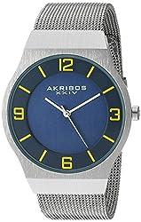 Akribos XXIV Men's AK851BU Round Blue Dial Three Hand Quartz Bracelet Watch