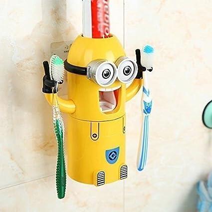 Juego de 2 dispensadores de pasta de dientes y soporte para cepillos de dientes de Minions