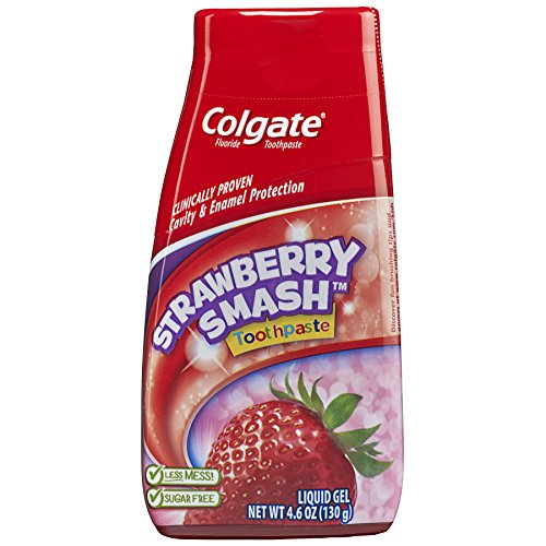 Colgate Fluoride Toothpaste Strawberry Smash Liquid Gel 4.60 oz (Pack of 1) - Kids Silly Strawberry