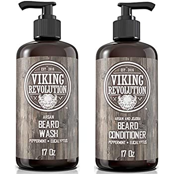 Viking Revolution Beard Wash & Beard Conditioner Set w/Argan & Jojoba Oils - Softens, Smooths & Strengthens Beard Growth - Natural Peppermint and Eucalyptus Scent - Beard Shampoo w/Beard Oil (17 oz)
