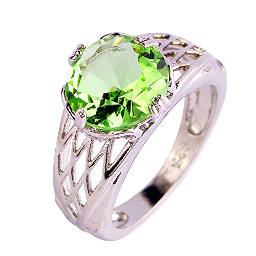 Emsione Created Green Amethyst 925 Silver Plated Ring for Women ()