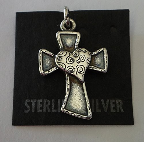 Sterling Silver 22x15mm Modern Whimsical Cross and Heart Charm Jewelry Making Supply, Pendant, Charms, Bracelet, DIY Crafting by Wholesale Charms