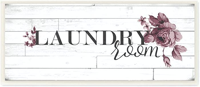 Stupell Industries Vintage Chic Laundry Room Wall Plaque, 7 x 17, Design by Artist Ashley Hutchins