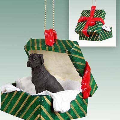 - Great Dane Green Gift Box Dog Ornament - Uncropped Ears - Black