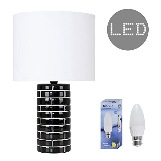 Modern tile effect gloss black ceramic table lamp with a white modern tile effect gloss black ceramic table lamp with a white cylinder light shade complete mozeypictures Images