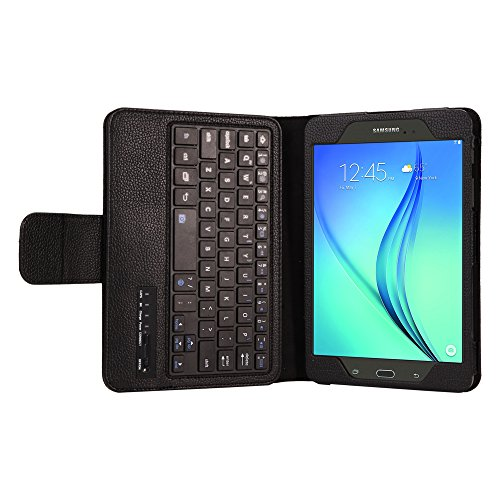 Samsung Galaxy Tab A 8.0 SM-T350 Tablet Keyboard Leather Case, Folio PU Case Bluetooth Built-in Stand Removable Keyboard Case Cover with Auto Sleep/Wake SM-T350/T355/P350/P355 (2015) (Black)