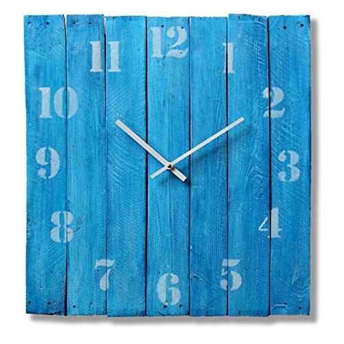Large Square Wood Rustic Wall Clock 20-inch - Silent Non Ticking Gift for Home/Office/Kitchen/Bedroom/Living Room