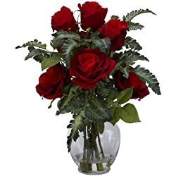 Nearly Natural Rose with Fern Silk Flower Arrangement, Valentine's Day Gift Red