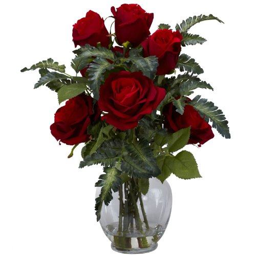Nearly Natural 1280 Rose with Fern Silk Flower Arrangement,