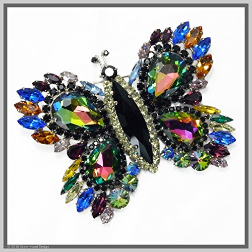 Vintage Inspired Jewelry Art Butterfly Brooch Pin Watermelon-Winged Swarovski Crystal Rhinestones by Jewelry by Crystal Countess