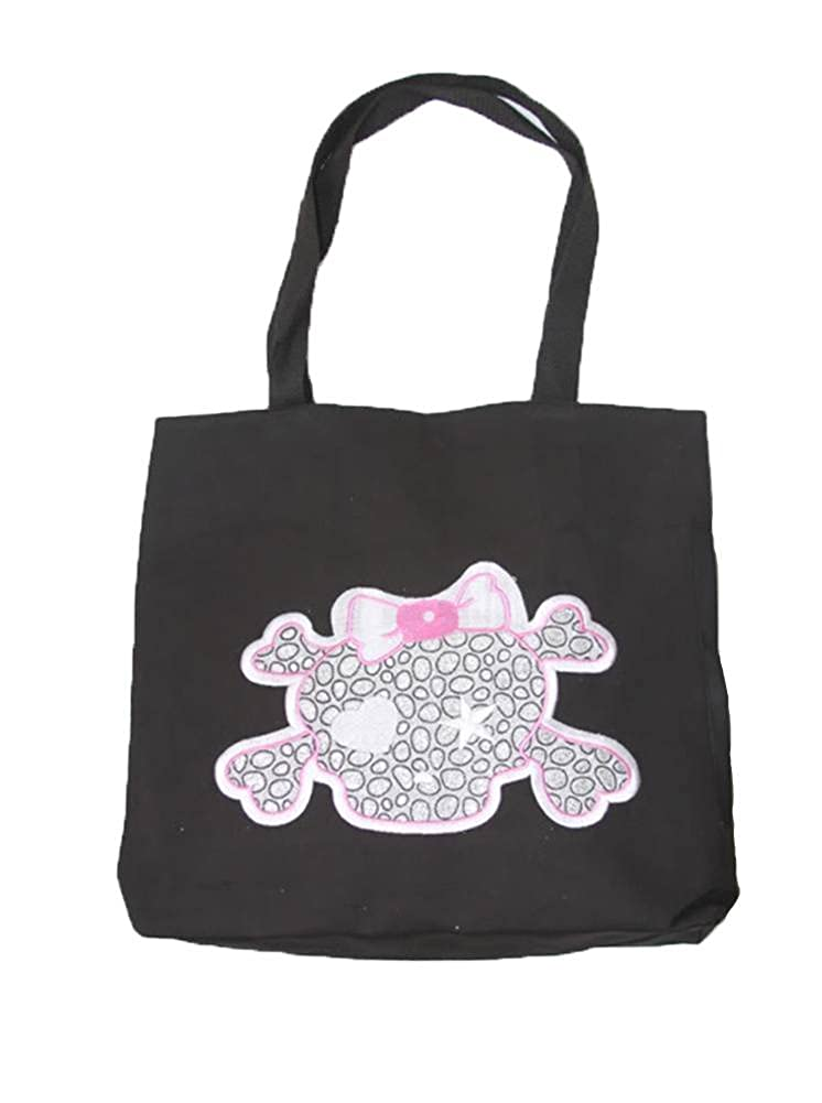 Clover Cartoon Pink and Silver Skull Tote Bag Black