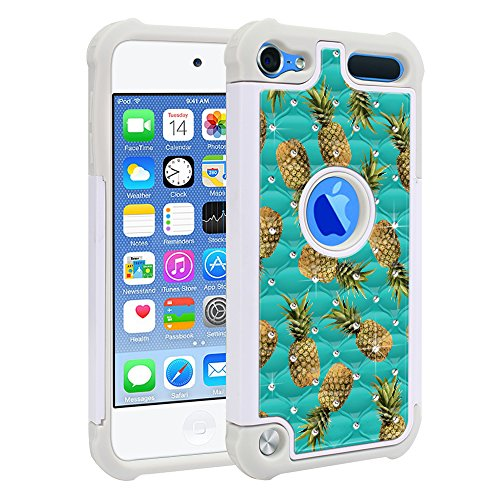 FINCIBO Case Compatible with Apple iPod Touch 5 6th Generation, Dual Layer Shock Proof Hybrid Protector Case Cover TPU Sparkle Rhinestone Bling for iPod Touch 5 6 - Paradise Pineapples