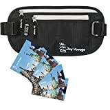 Travel money belt with RFID blocking for men and women by Joy Voyage. Hidden waist travel wallet with dual anti-theft protection from pickpockets and electronic thefts.