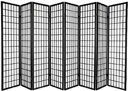 Panel Shoji Screen Room Divider 3 - 10 Panel 8 pnael, Black,