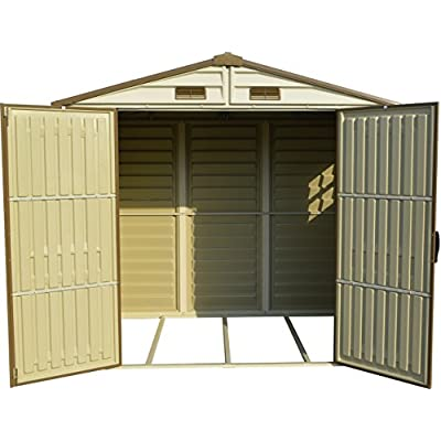 Duramax-StoreAll-8-x-6-Plastic-Garden-Shed-with-Foundation-Kit-Fixed-Window-Ivory-Brown-15-Years-Warranty