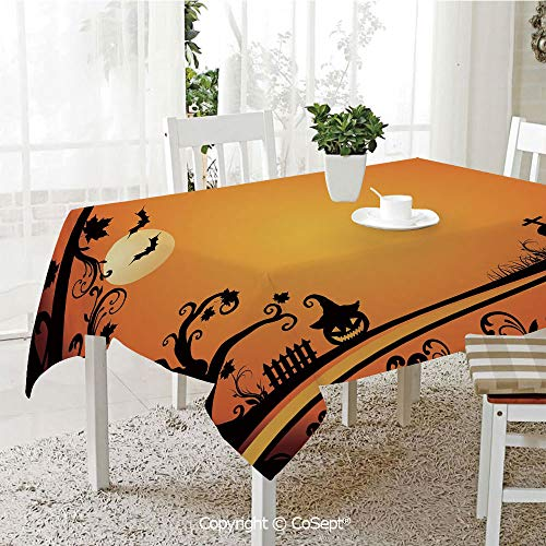 SCOXIXI Rectangle Tablecloth,Halloween Themed Image Eerie Atmosphere Gravestone Evil Pumpkin Moon Decorative,Great for Table,Parties,Holiday Dinner(60.23