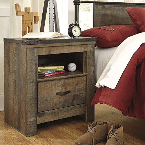 Ashley Furniture Signature Design - Trinell Warm Rustic Nightstand - Casual Master Bedroom End Table - Brown Oak Traditional Bed Set