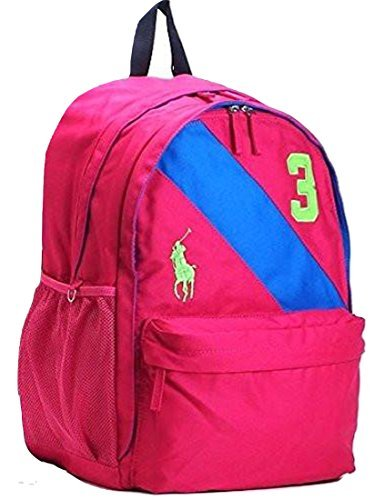 Polo Ralph Lauren Banner Stripe II Large Backpack - Fuchsia/Royal/Green - Kids - (Ralph Prescription Sunglasses)