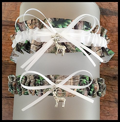 Realtree White Satin Wedding Keepsake Or Bridal Garter SET Pick Your Charm