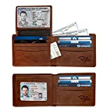 2 ID Window RFID Wallet for Men, Bifold Wallet, Sleek and Stylish Gift for Men, Multi Card Extra Capacity Travel Wallet (Large, Brown - Distressed Genuine Leather)