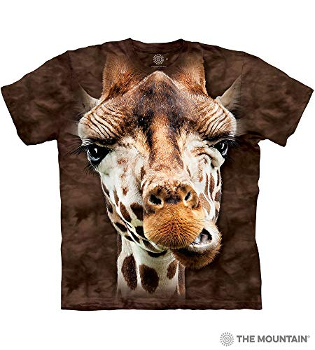 Giraffe Print Fashion - The Mountain Giraffe Adult T-Shirt, Brown, Medium