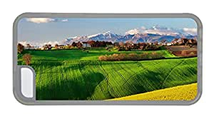Customized iphone free shipping case Italy nature scenery fields spring rapeseed sky TPU Transparent for Apple iPhone 5C