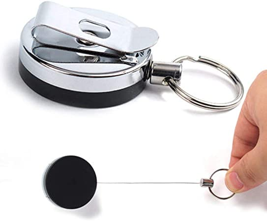 Recoil Cord Key Ring Pull Chain Belt Clip Heavy Duty Retractable Key Reel