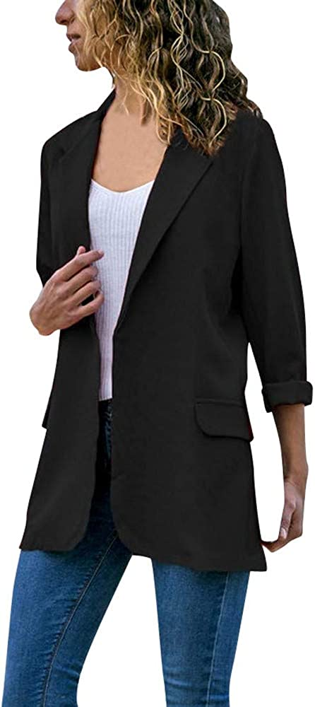 Mujeres Blazer Elegante Oficina Traje de Chaqueta Outwear Casual STRIR