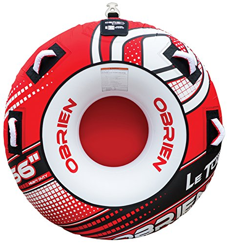 4 Inflatable Towable Tube - O'Brien Rider Le Towable Round Tube with 4 Handles, 56-Inch