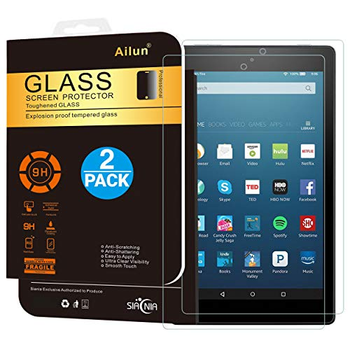 Ailun Screen Protector for Fire HD 8 2Pack 2018 2017 2016 Release Tempered Glass 9H Hardness Ultra Clear Anti-Scratch Case Friendly