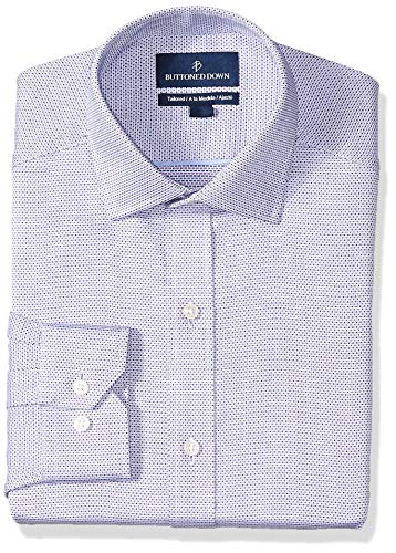 (BUTTONED DOWN Men's Tailored Fit Spread-Collar Pattern Non-Iron Dress Shirt, Purple/Blue Micro Check, 19