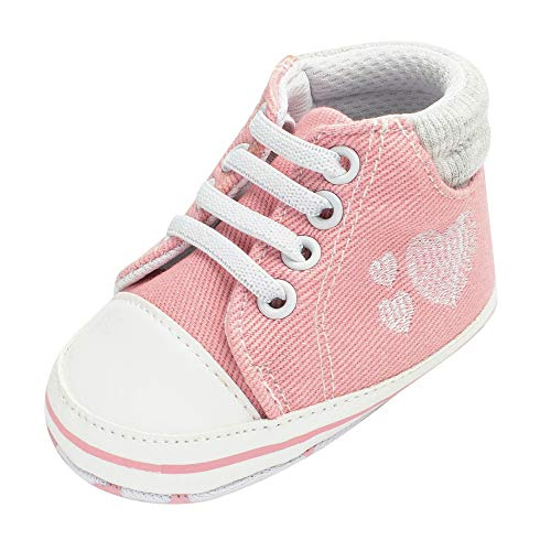 Baby Winter Warm Boots,Jchen(TM) Newborn Baby Infant Girl Boy Denim Heart Print Soft Anti-Slip Lace-up Shoes Boots for 0-18 Months (Age: 6-12 Months, Pink)]()
