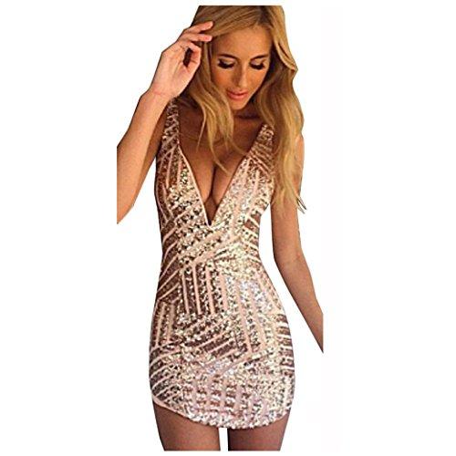 Bekleidung Longra Damen Mode V Neck Pailletten Bodycon Verband ...