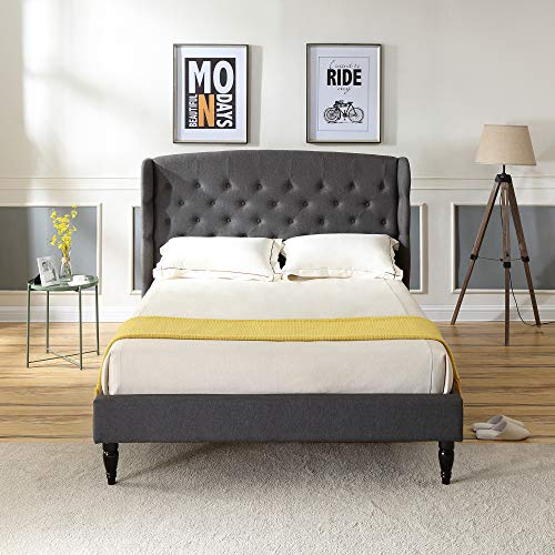 Brighton Upholstered Platform Bed | Headboard and Wood Frame with Wood Slat Support | Grey, Queen (Headboard Wingback Queen)