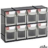 Drawer Plastic Bin Parts Storage Organizer Cabinet House Storage Boxes (8 Drawer, Black)